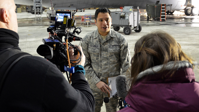 Staff Sgt. Jose Gutierrez, 439th Bioenvironmental Technician, responds to interview questions conducted by media representatives from Futures Magazine, Jan. 10, 2015.